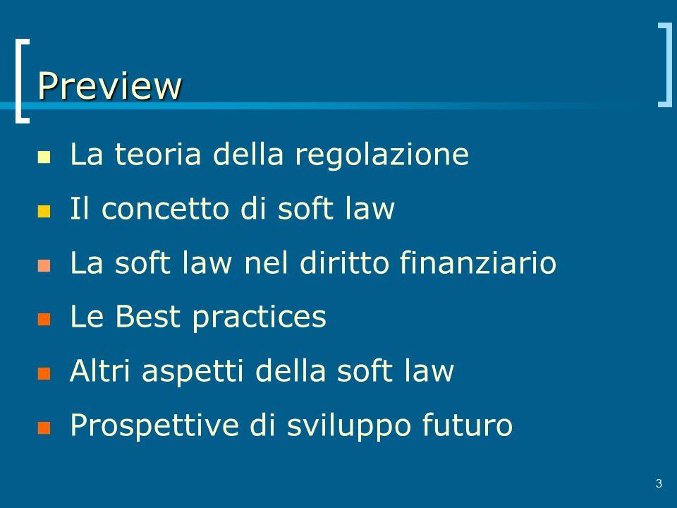 3 Preview La teoria della regolazione Il concetto di soft law La soft law nel diritto finanziario Le Best practices Altri aspetti della soft law Prosp