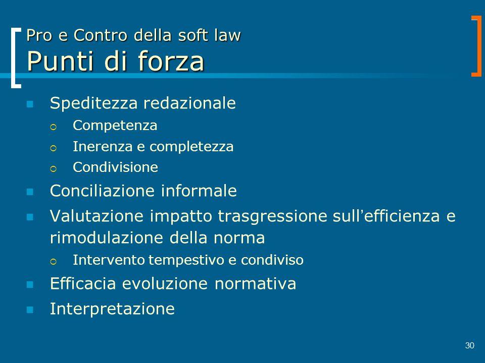 30 Pro e Contro della soft law Punti di forza Speditezza redazionale Competenza Inerenza e completezza Condivisione Conciliazione informale Valutazion