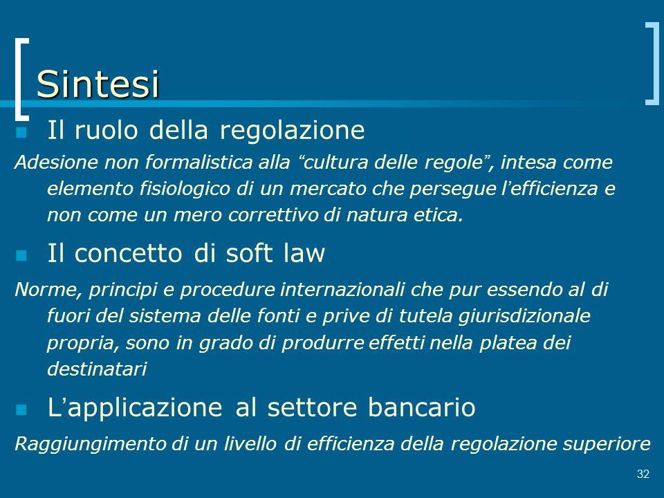 32 Sintesi Il ruolo della regolazione Adesione non formalistica alla cultura delle regole, intesa come elemento fisiologico di un mercato che persegue