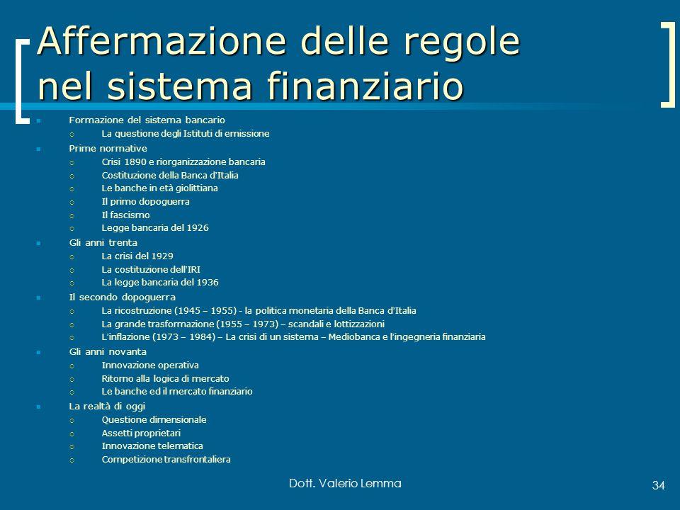 Dott. Valerio Lemma 34 Affermazione delle regole nel sistema finanziario Formazione del sistema bancario La questione degli Istituti di emissione Prim