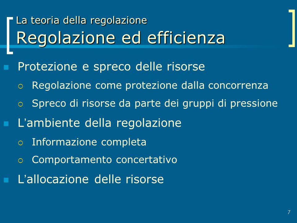 7 La teoria della regolazione Regolazione ed efficienza Protezione e spreco delle risorse Regolazione come protezione dalla concorrenza Spreco di riso