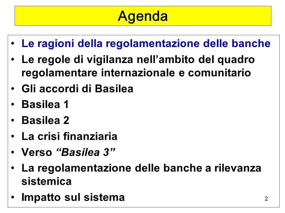 2 Agenda Le ragioni della regolamentazione delle banche Le regole di vigilanza nellambito del quadro regolamentare internazionale e comunitario Gli accordi di Basilea Basilea 1 Basilea 2 La crisi finanziaria Verso Basilea 3 La regolamentazione delle banche a rilevanza sistemica Impatto sul sistema