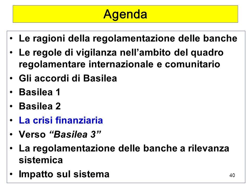 40 Agenda Le ragioni della regolamentazione delle banche Le regole di vigilanza nellambito del quadro regolamentare internazionale e comunitario Gli accordi di Basilea Basilea 1 Basilea 2 La crisi finanziaria Verso Basilea 3 La regolamentazione delle banche a rilevanza sistemica Impatto sul sistema