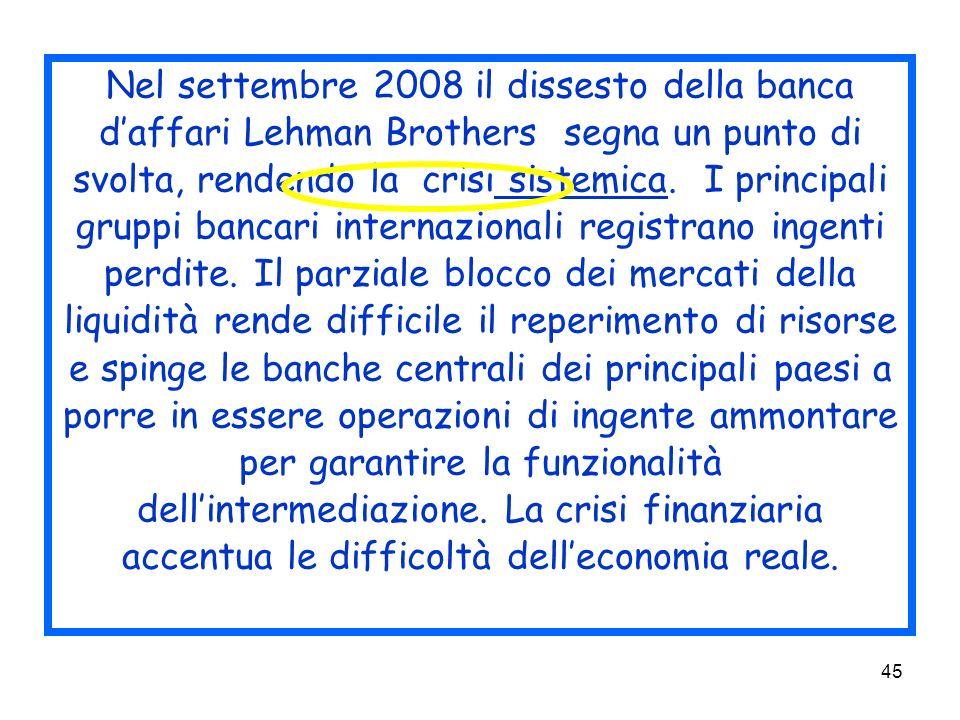 45 Nel settembre 2008 il dissesto della banca daffari Lehman Brothers segna un punto di svolta, rendendo la crisi sistemica.