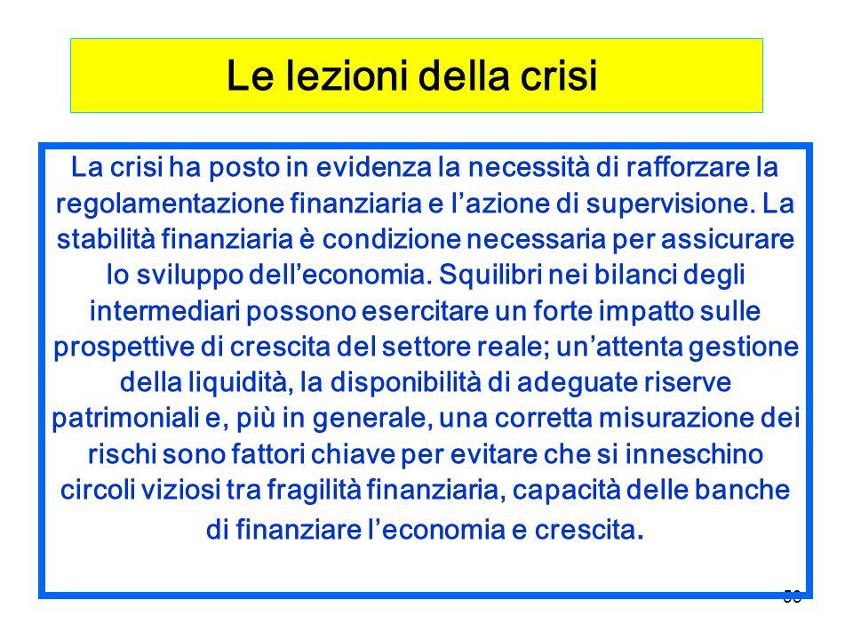 58 La crisi ha posto in evidenza la necessità di rafforzare la regolamentazione finanziaria e lazione di supervisione.