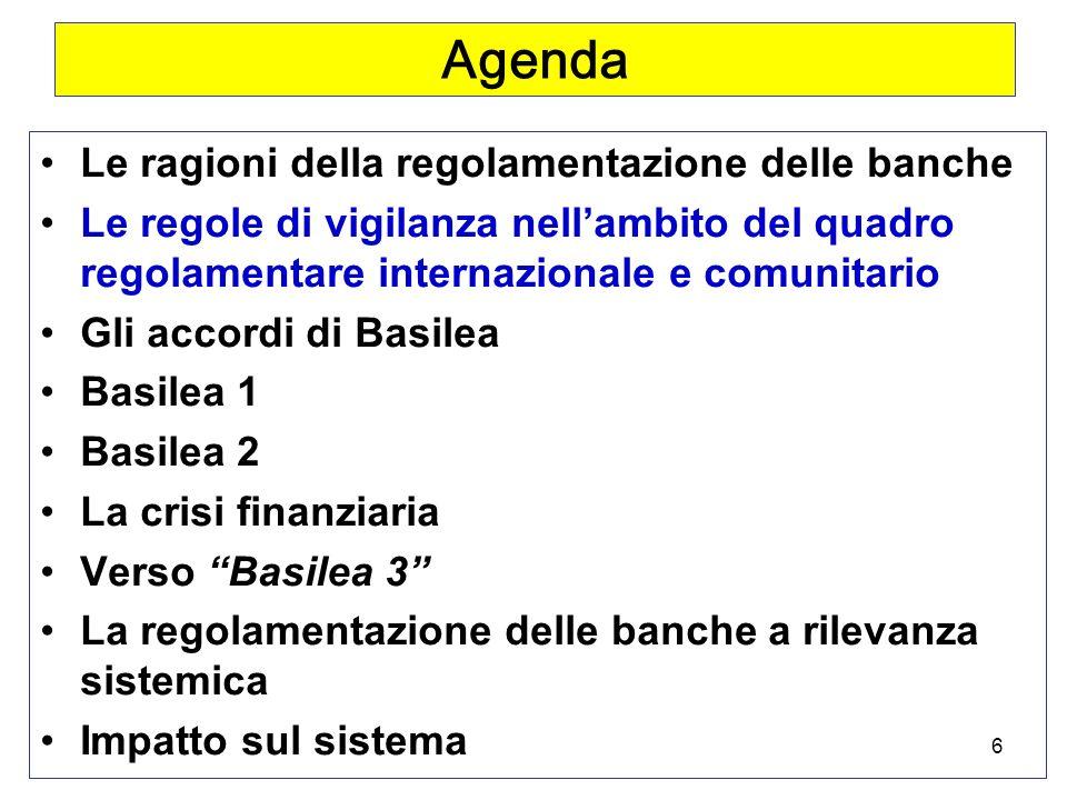 6 Agenda Le ragioni della regolamentazione delle banche Le regole di vigilanza nellambito del quadro regolamentare internazionale e comunitario Gli accordi di Basilea Basilea 1 Basilea 2 La crisi finanziaria Verso Basilea 3 La regolamentazione delle banche a rilevanza sistemica Impatto sul sistema