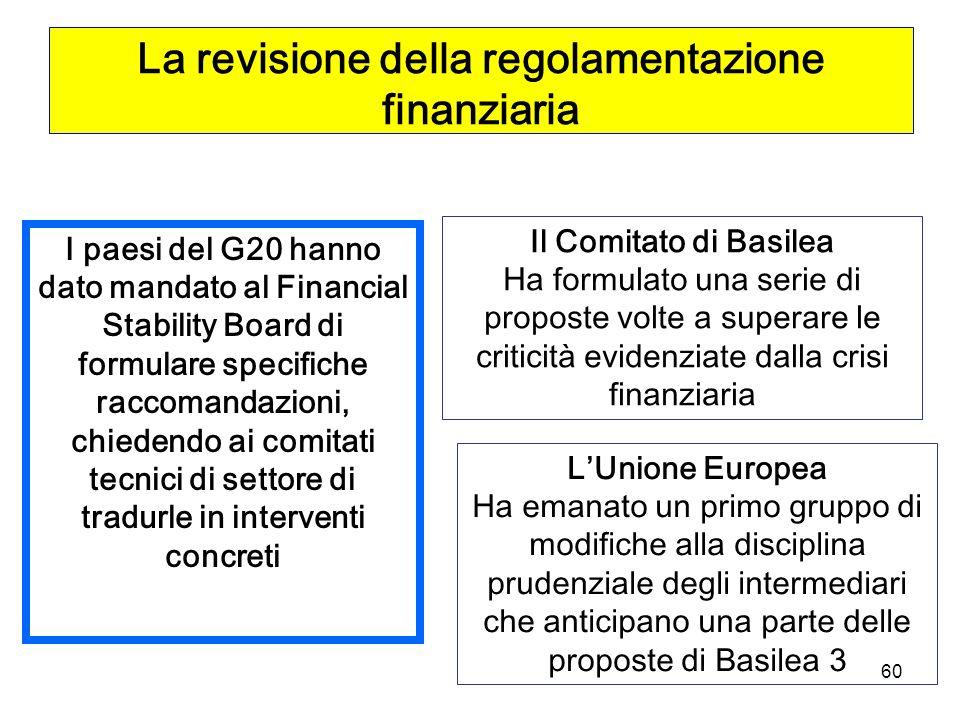 60 La revisione della regolamentazione finanziaria I paesi del G20 hanno dato mandato al Financial Stability Board di formulare specifiche raccomandazioni, chiedendo ai comitati tecnici di settore di tradurle in interventi concreti Il Comitato di Basilea Ha formulato una serie di proposte volte a superare le criticità evidenziate dalla crisi finanziaria LUnione Europea Ha emanato un primo gruppo di modifiche alla disciplina prudenziale degli intermediari che anticipano una parte delle proposte di Basilea 3