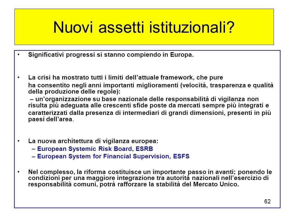 62 Nuovi assetti istituzionali.Significativi progressi si stanno compiendo in Europa.