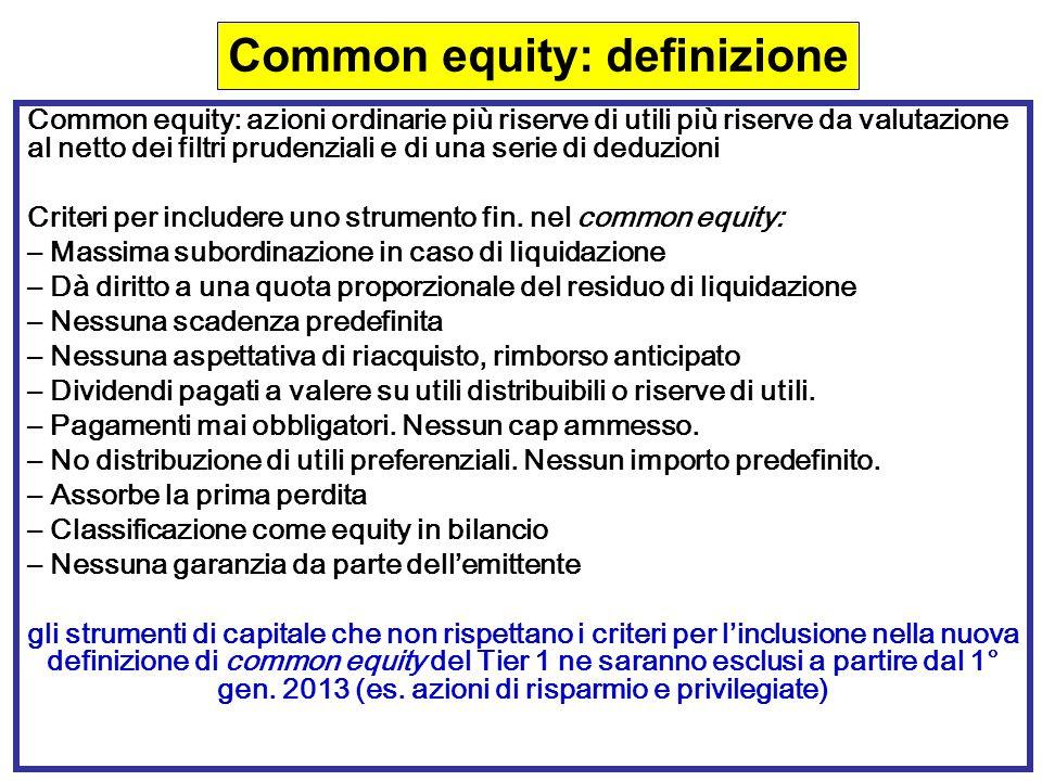 68 Common equity: azioni ordinarie più riserve di utili più riserve da valutazione al netto dei filtri prudenziali e di una serie di deduzioni Criteri per includere uno strumento fin.