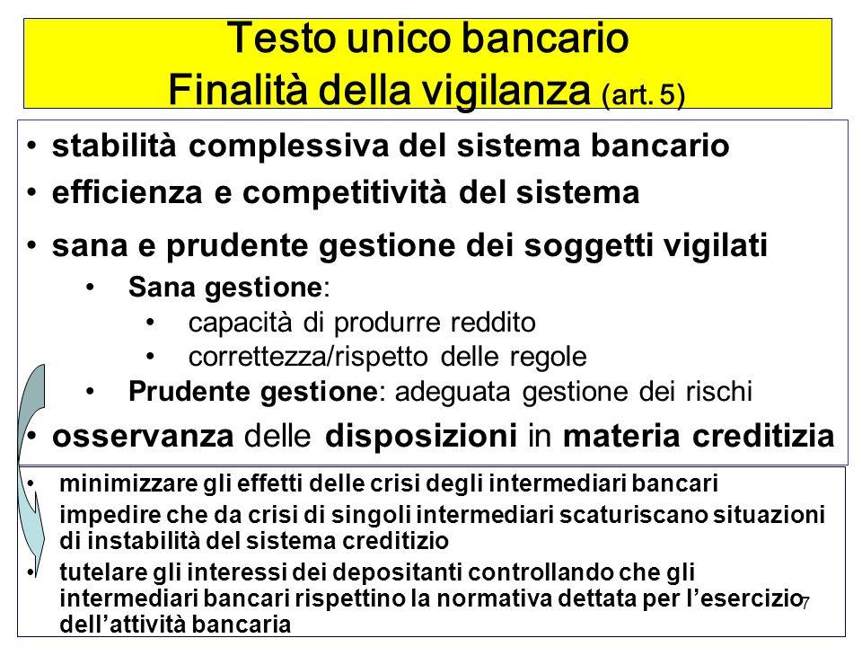 7 Testo unico bancario Finalità della vigilanza (art.