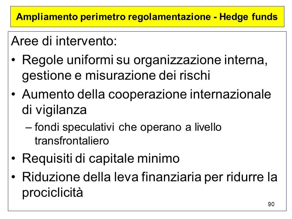 90 Ampliamento perimetro regolamentazione - Hedge funds Aree di intervento: Regole uniformi su organizzazione interna, gestione e misurazione dei rischi Aumento della cooperazione internazionale di vigilanza –fondi speculativi che operano a livello transfrontaliero Requisiti di capitale minimo Riduzione della leva finanziaria per ridurre la prociclicità