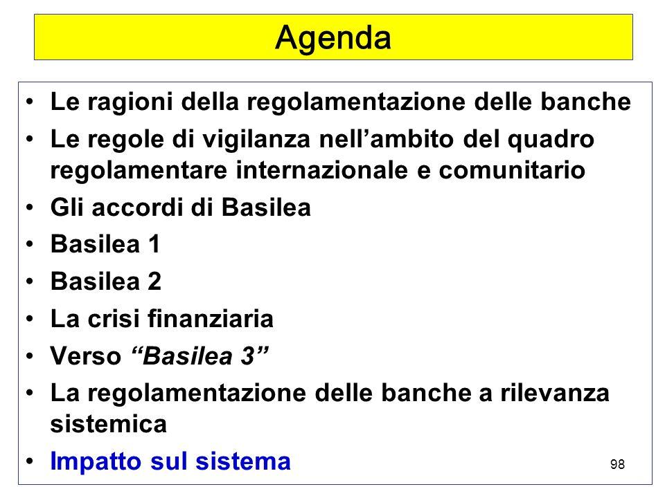98 Agenda Le ragioni della regolamentazione delle banche Le regole di vigilanza nellambito del quadro regolamentare internazionale e comunitario Gli accordi di Basilea Basilea 1 Basilea 2 La crisi finanziaria Verso Basilea 3 La regolamentazione delle banche a rilevanza sistemica Impatto sul sistema