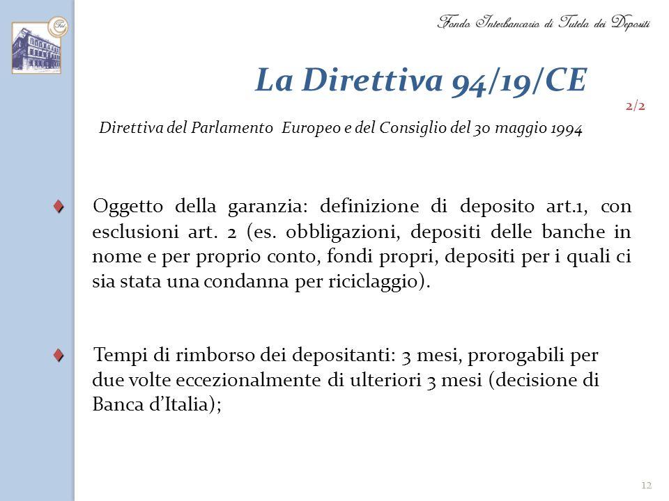 12 La Direttiva 94/19/CE Oggetto della garanzia: definizione di deposito art.1, con esclusioni art. 2 (es. obbligazioni, depositi delle banche in nome