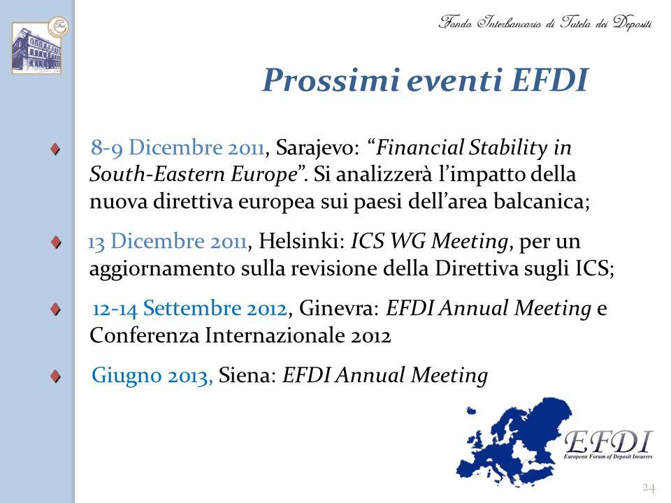 24 Prossimi eventi EFDI 8-9 Dicembre 2011, Sarajevo: Financial Stability in South-Eastern Europe. Si analizzerà limpatto della nuova direttiva europea