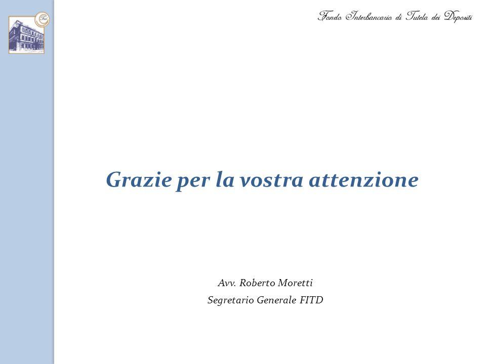 Grazie per la vostra attenzione Avv. Roberto Moretti Segretario Generale FITD