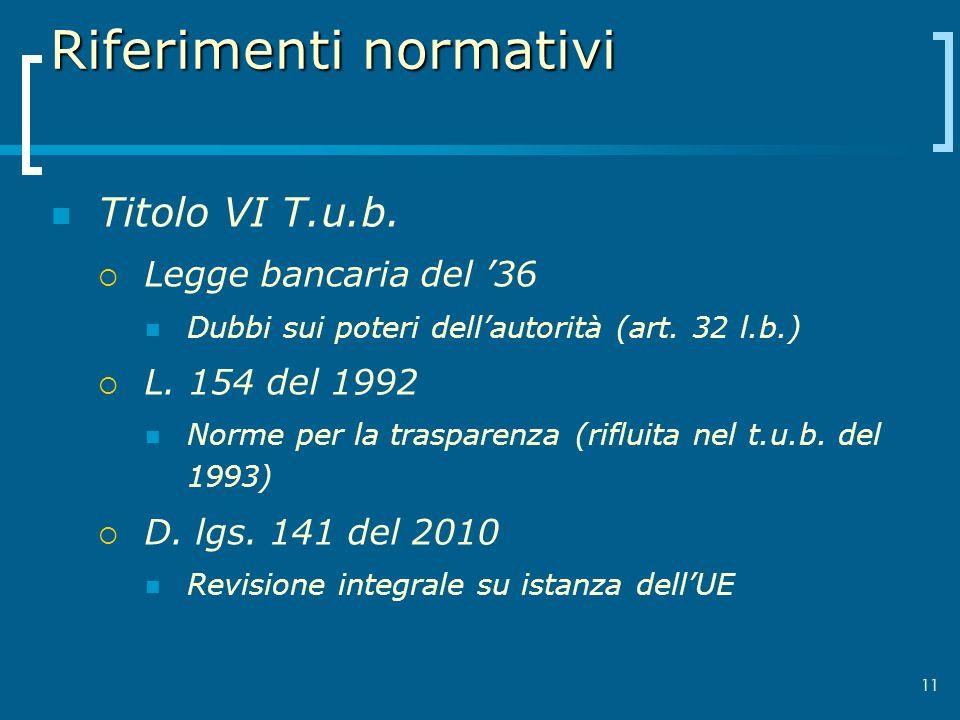 Riferimenti normativi Titolo VI T.u.b. Legge bancaria del 36 Dubbi sui poteri dellautorità (art. 32 l.b.) L. 154 del 1992 Norme per la trasparenza (ri
