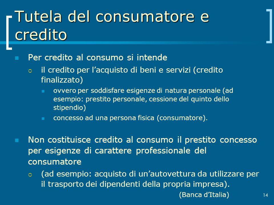 Tutela del consumatore e credito Per credito al consumo si intende il credito per lacquisto di beni e servizi (credito finalizzato) ovvero per soddisf
