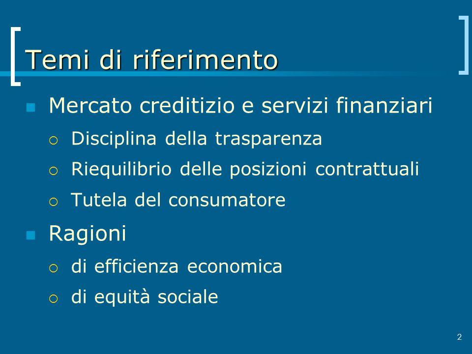 2 Temi di riferimento Mercato creditizio e servizi finanziari Disciplina della trasparenza Riequilibrio delle posizioni contrattuali Tutela del consum