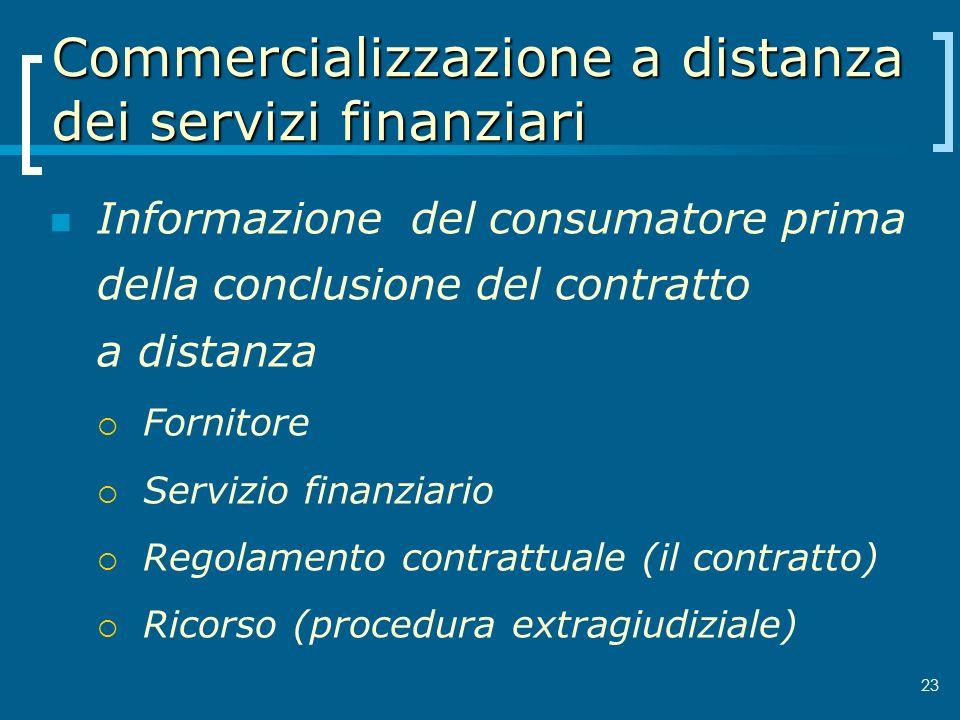 Commercializzazione a distanza dei servizi finanziari Informazione del consumatore prima della conclusione del contratto a distanza Fornitore Servizio