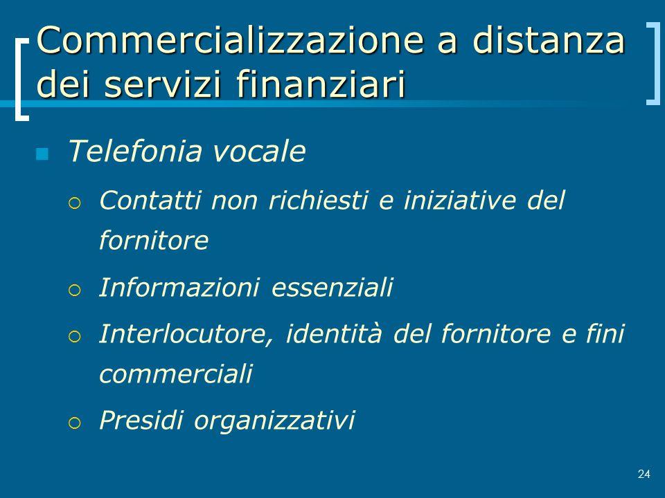 Commercializzazione a distanza dei servizi finanziari Telefonia vocale Contatti non richiesti e iniziative del fornitore Informazioni essenziali Inter