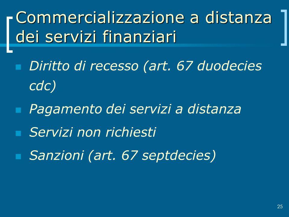 Commercializzazione a distanza dei servizi finanziari Diritto di recesso (art. 67 duodecies cdc) Pagamento dei servizi a distanza Servizi non richiest