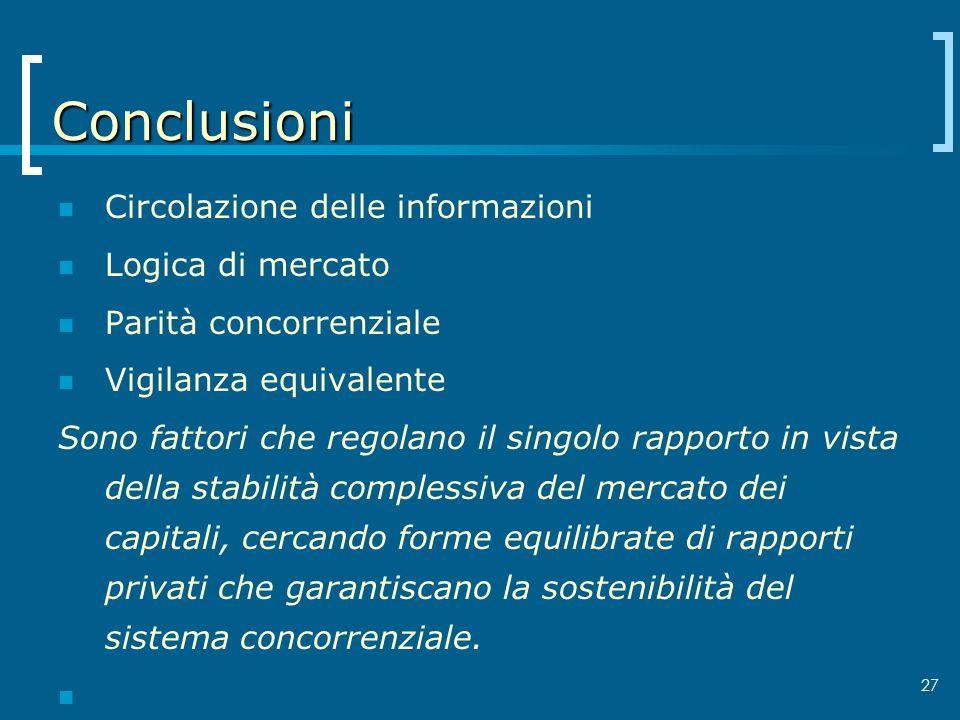 27 Conclusioni Circolazione delle informazioni Logica di mercato Parità concorrenziale Vigilanza equivalente Sono fattori che regolano il singolo rapp