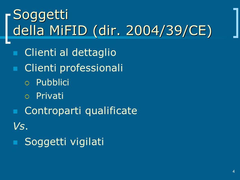 Soggetti della MiFID (dir. 2004/39/CE) Clienti al dettaglio Clienti professionali Pubblici Privati Controparti qualificate Vs. Soggetti vigilati 4