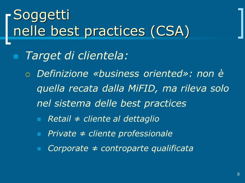 Soggetti nelle best practices (CSA) Target di clientela: Definizione «business oriented»: non è quella recata dalla MiFID, ma rileva solo nel sistema
