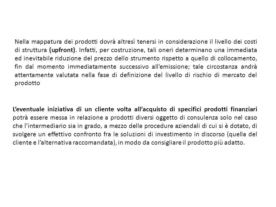 Nella mappatura dei prodotti dovrà altresì tenersi in considerazione il livello dei costi di struttura (upfront).
