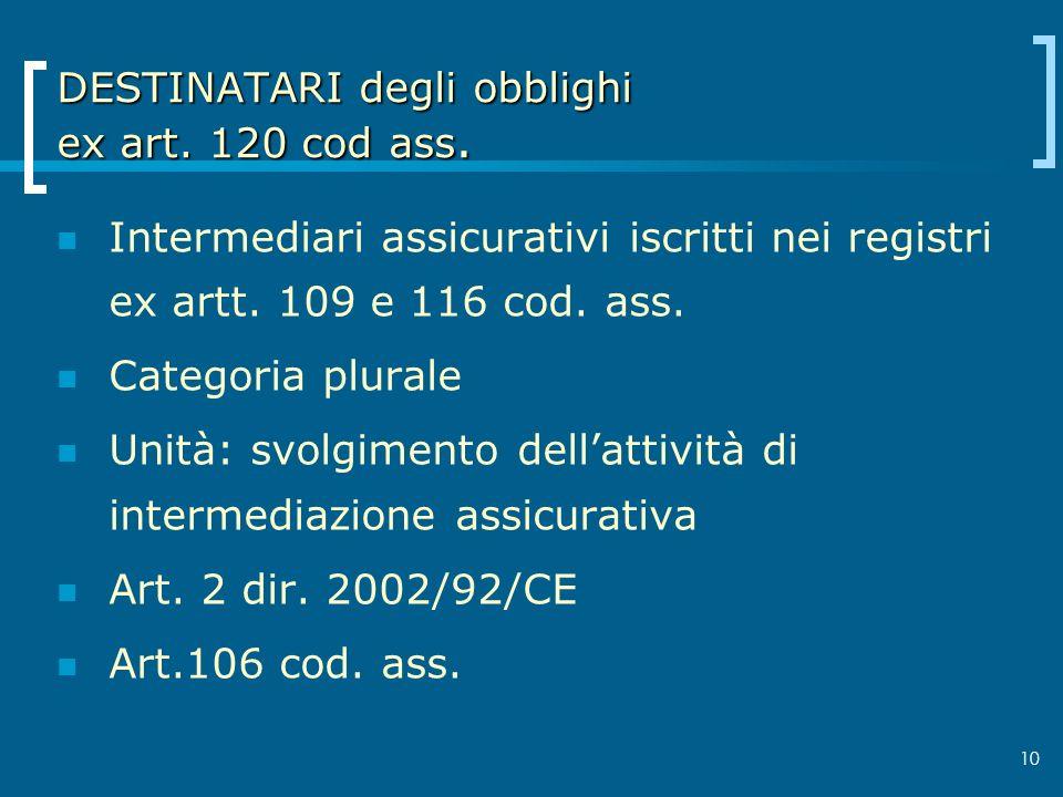 10 DESTINATARI degli obblighi ex art. 120 cod ass. Intermediari assicurativi iscritti nei registri ex artt. 109 e 116 cod. ass. Categoria plurale Unit