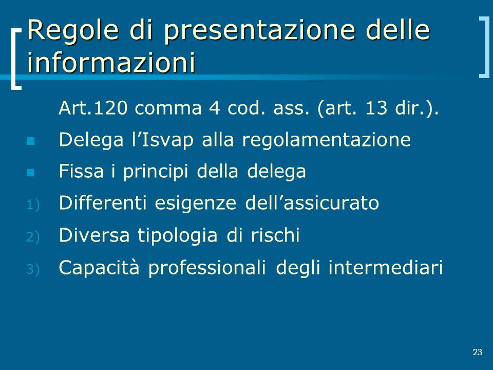 23 Regole di presentazione delle informazioni Art.120 comma 4 cod. ass. (art. 13 dir.). Delega lIsvap alla regolamentazione Fissa i principi della del