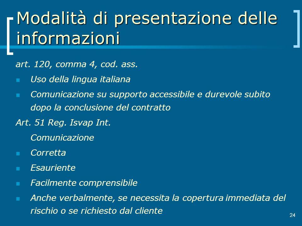 24 Modalità di presentazione delle informazioni art. 120, comma 4, cod. ass. Uso della lingua italiana Comunicazione su supporto accessibile e durevol