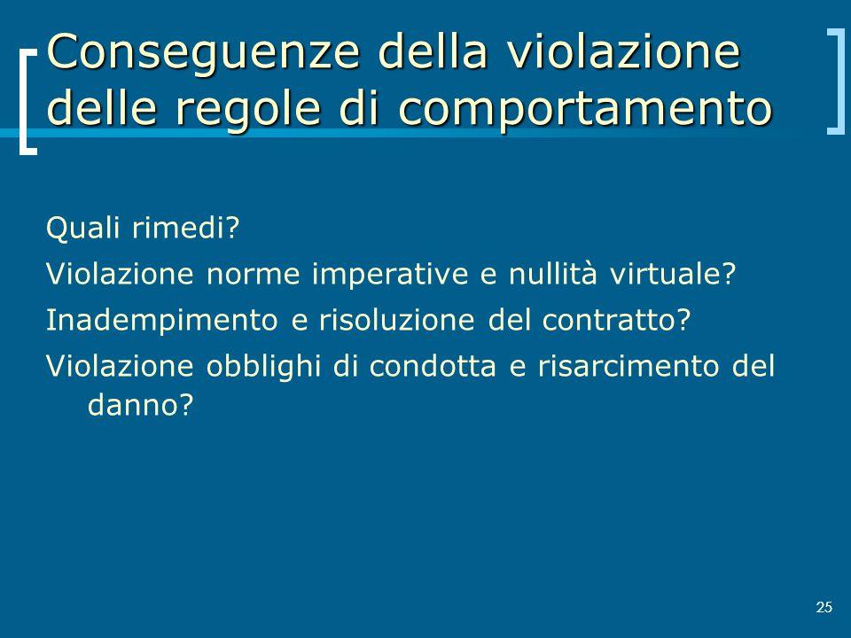 25 Conseguenze della violazione delle regole di comportamento Quali rimedi? Violazione norme imperative e nullità virtuale? Inadempimento e risoluzion