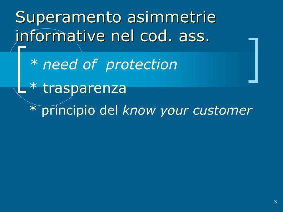 Superamento asimmetrie informative nel cod. ass. * need of protection * trasparenza * principio del know your customer 3