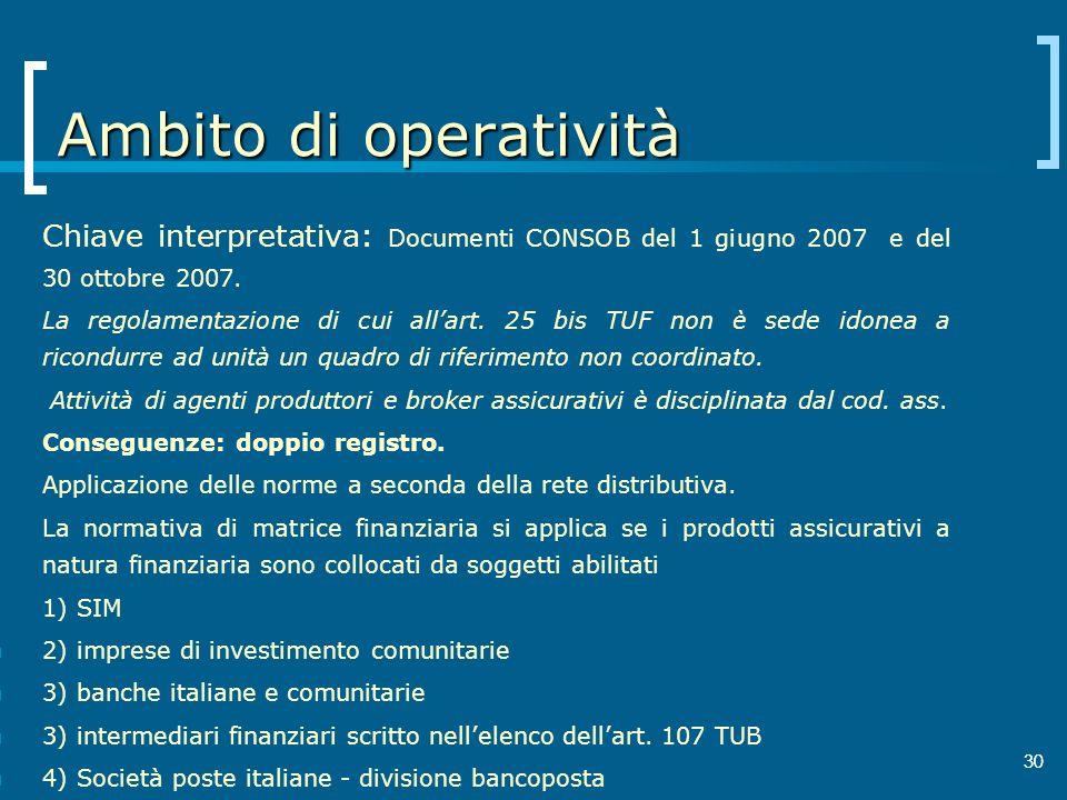 30 Ambito di operatività Chiave interpretativa: Documenti CONSOB del 1 giugno 2007 e del 30 ottobre 2007. La regolamentazione di cui allart. 25 bis TU