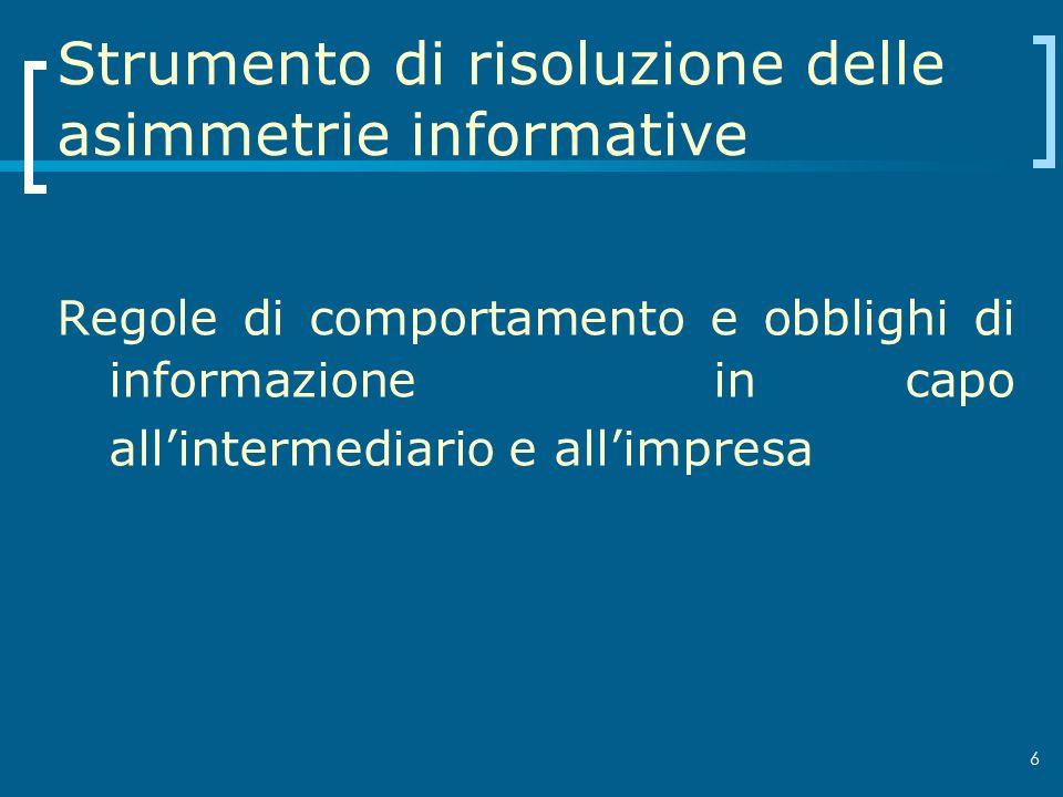 6 Strumento di risoluzione delle asimmetrie informative Regole di comportamento e obblighi di informazione in capo allintermediario e allimpresa