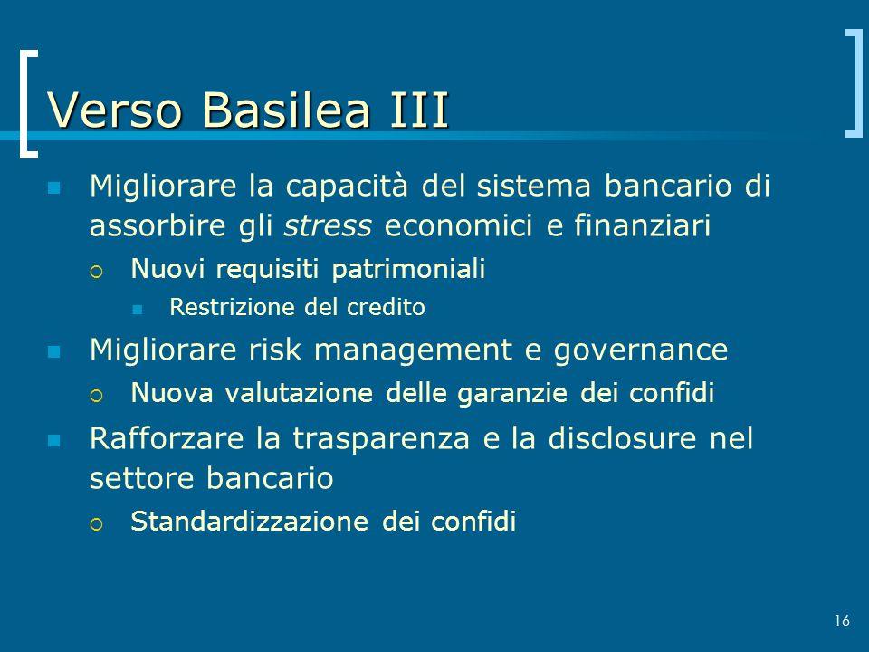 16 Verso Basilea III Migliorare la capacità del sistema bancario di assorbire gli stress economici e finanziari Nuovi requisiti patrimoniali Restrizio