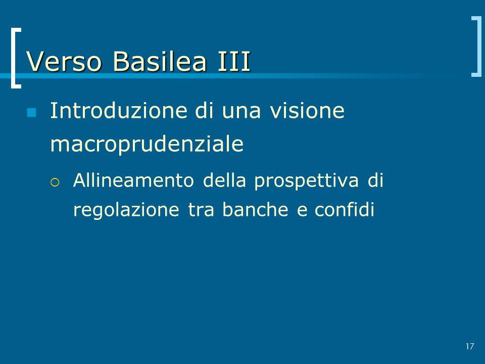 17 Verso Basilea III Introduzione di una visione macroprudenziale Allineamento della prospettiva di regolazione tra banche e confidi