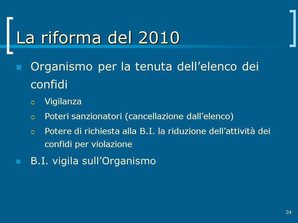 24 La riforma del 2010 Organismo per la tenuta dellelenco dei confidi Vigilanza Poteri sanzionatori (cancellazione dallelenco) Potere di richiesta all