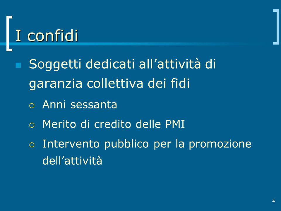 4 I confidi Soggetti dedicati allattività di garanzia collettiva dei fidi Anni sessanta Merito di credito delle PMI Intervento pubblico per la promozi