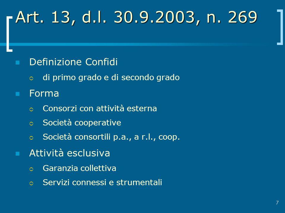 7 Art. 13, d.l. 30.9.2003, n. 269 Definizione Confidi di primo grado e di secondo grado Forma Consorzi con attività esterna Società cooperative Societ