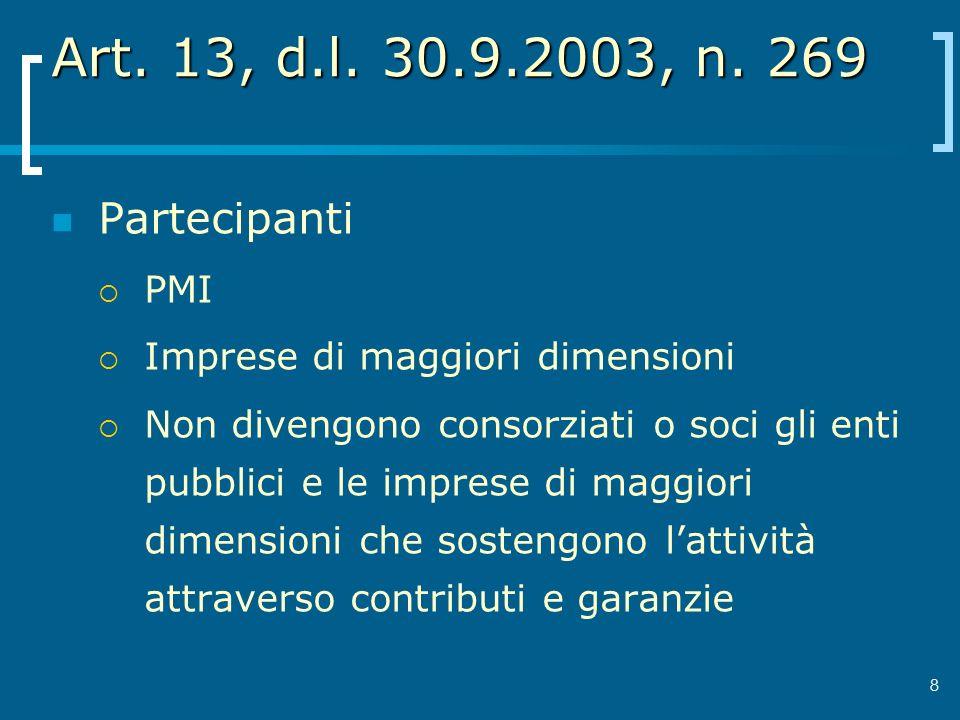 8 Art. 13, d.l. 30.9.2003, n. 269 Partecipanti PMI Imprese di maggiori dimensioni Non divengono consorziati o soci gli enti pubblici e le imprese di m