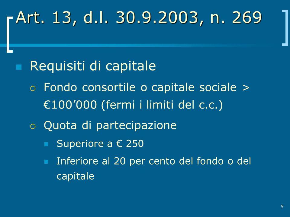 9 Art. 13, d.l. 30.9.2003, n. 269 Requisiti di capitale Fondo consortile o capitale sociale > 100000 (fermi i limiti del c.c.) Quota di partecipazione