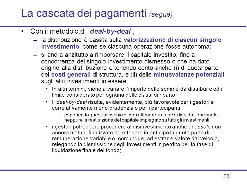 23 La cascata dei pagamenti (segue) Con il metodo c.d. deal-by-deal, –la distribuzione è basata sulla valorizzazione di ciascun singolo investimento,