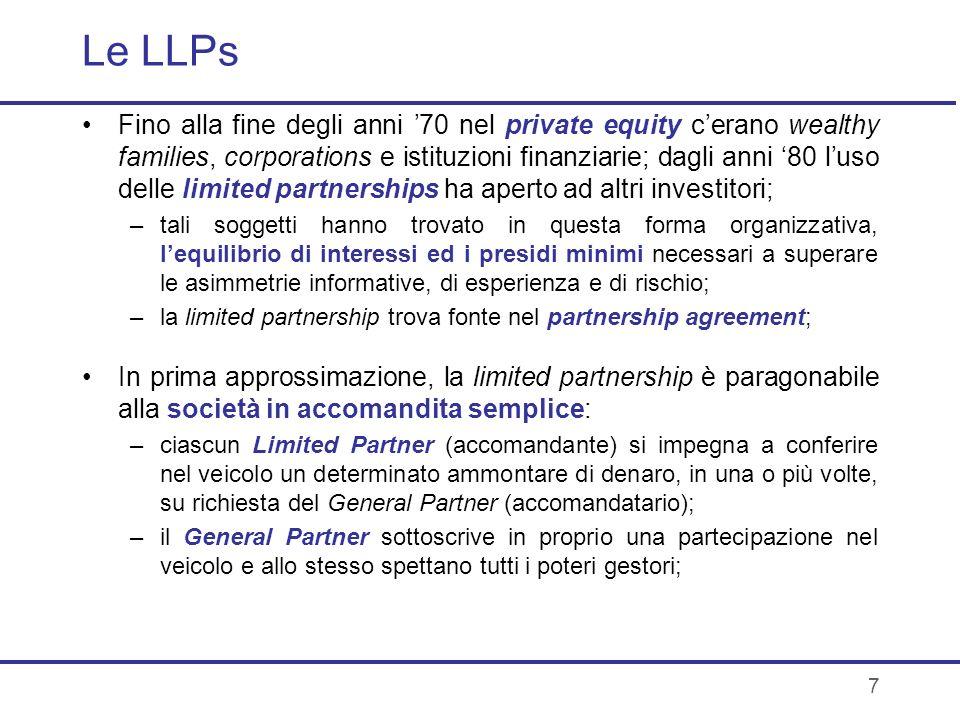 7 Le LLPs Fino alla fine degli anni 70 nel private equity cerano wealthy families, corporations e istituzioni finanziarie; dagli anni 80 luso delle li