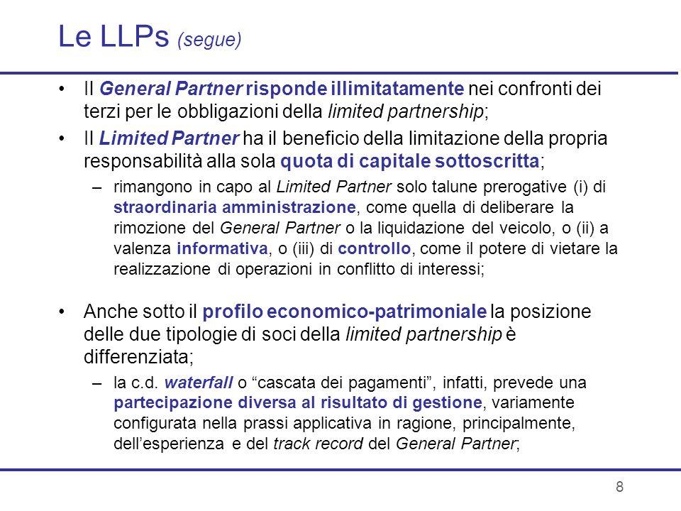 8 Le LLPs (segue) Il General Partner risponde illimitatamente nei confronti dei terzi per le obbligazioni della limited partnership; Il Limited Partne