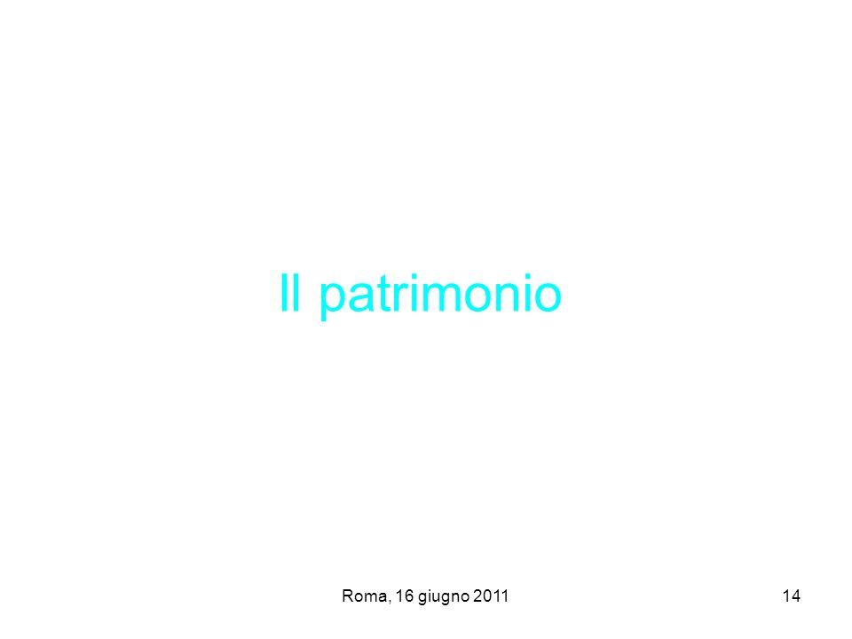 Roma, 16 giugno 201114 Il patrimonio