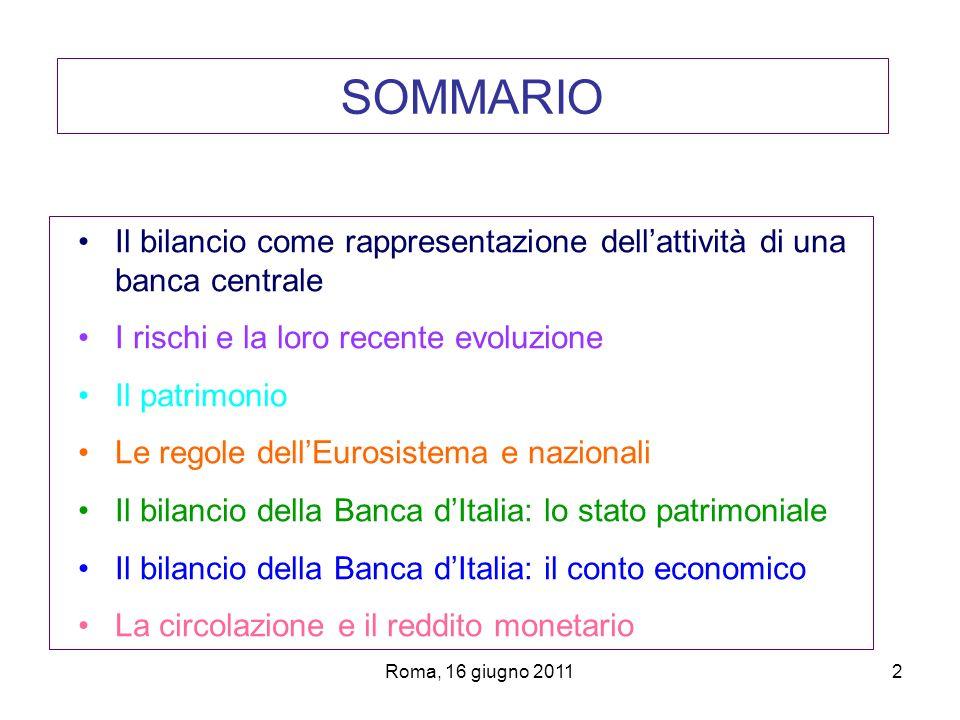 Roma, 16 giugno 20112 SOMMARIO Il bilancio come rappresentazione dellattività di una banca centrale I rischi e la loro recente evoluzione Il patrimoni