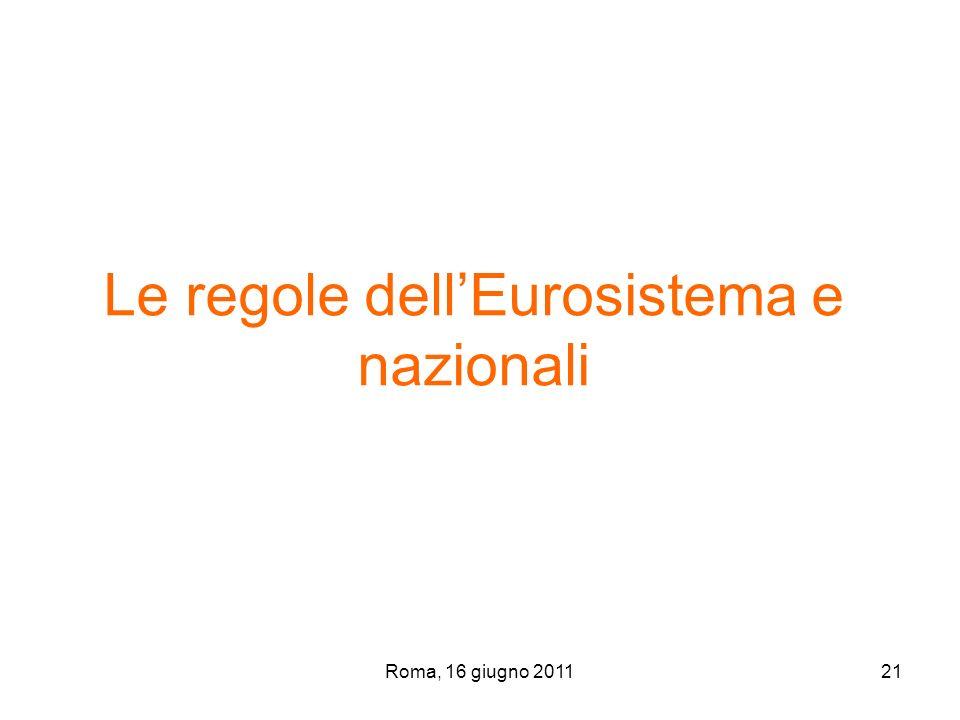 Roma, 16 giugno 201121 Le regole dellEurosistema e nazionali