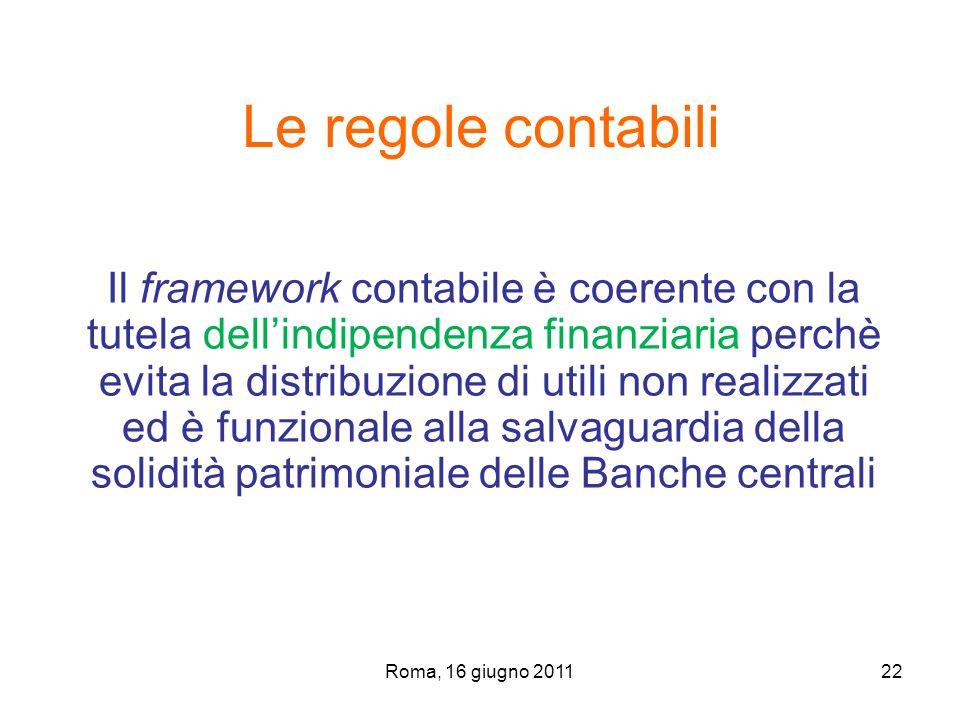 Roma, 16 giugno 201122 Il framework contabile è coerente con la tutela dellindipendenza finanziaria perchè evita la distribuzione di utili non realizz